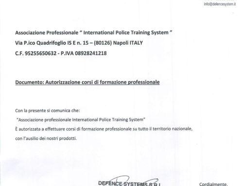 La IPTS viene ufficialmente autorizzata su tutto il territorio nazionale per la formazione professionale SPRAY OC RSG – Bastone PRG580 e di tutti i prodotti Defence Systems srl